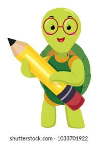 Illustration of a Turtle Mascot Student Holding a Big Pencil