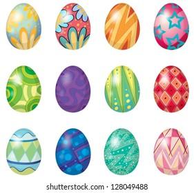 Illustration of twelve easter eggs on a white background