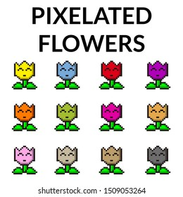Illustration of twelve pixelated flowers, with different colors, for videogames and illustrations.