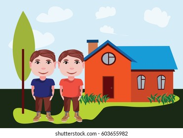 illustration twins teenagers on a background of a cozy home