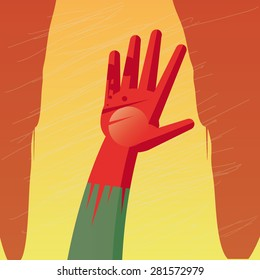 Illustration of two bloodstained hands over an yellow background. The texture is removable from the background.