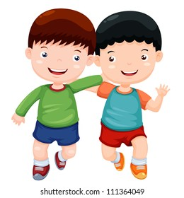 Illustration two boys have fun vector
