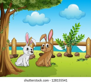 Illustration of two bunnies inside the fence