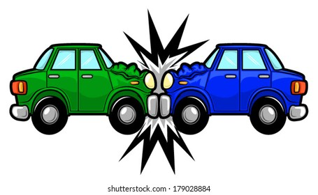 Illustration of two cars involved in a car wreck/Vector Car Accident Cartoon