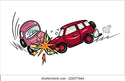 Illustration of two cartoon cars involved in a car wreck. Isolated on white background.