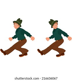 Illustration of two cartoon male characters isolated on white. Happy cartoon man walking in green hat.