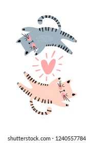 Illustration with two cats and a heart. Valentine day, love concept. Funny romantic background in vector.