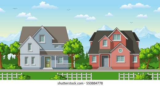 Illustration of two classic family houses with trees