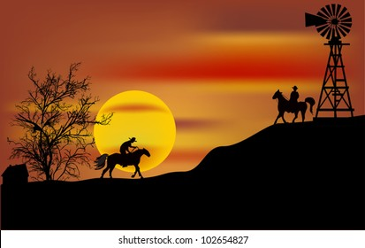 illustration with two cowboys at sunset