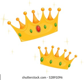 Illustration of two crowns on a white background