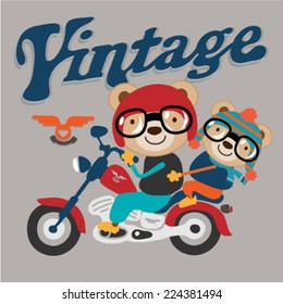 illustration of two cute animal riding on vintage chopper motorcycle. Vector illustration