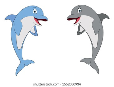 Illustration of two different color dolphins. Blue and Gray Dolphins