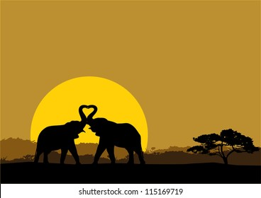 Illustration of two elephants in love silhouette at sunrise