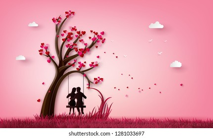 illustration of two enamored under a love tree, paper art 3d from digital craft.