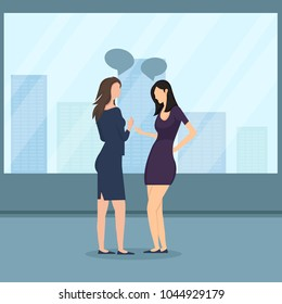 Illustration of two female colleagues talking to each other in office corridor