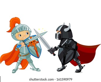 Illustration of two fighting knights