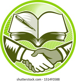 Illustration of two hands in handshake one white and the other black set inside circle done in retro woodcut style with textbook book and pen in background.