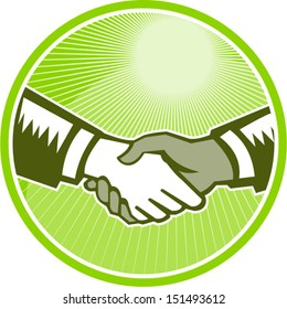 Illustration of two hands in handshake one white and the other black set inside circle done in retro woodcut style.