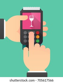 Illustration of two hands holdin a dataphone with a cup of wine