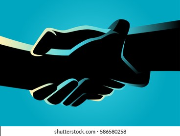 Illustration of two hands holding each other strongly