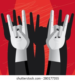 Illustration of two hands making the horn hand sign of rock and metal music over red and black background.