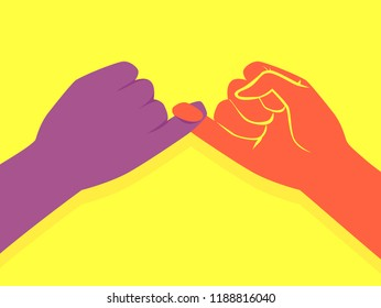 Illustration of Two Hands Making a Pinky Promise by Holding the Little Fingers Together