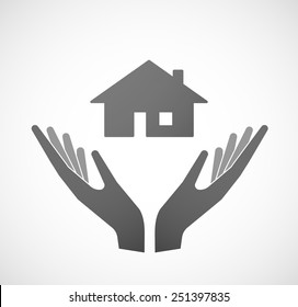 Illustration of two hands offering a house