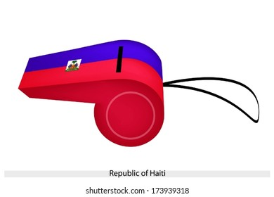 An Illustration of Two Horizontal Blue and Red Bands with The Coat of Arms of The Republic of Haiti Flag on A Whistle, The Sport Concept and Political Symbol.