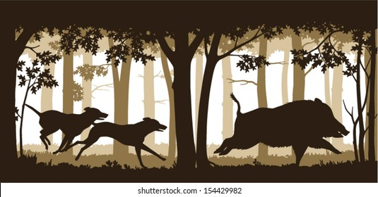 Illustration of two hunting dogs chasing a wild boar in deep forest. Editable vector illustration with elements as separate objects.