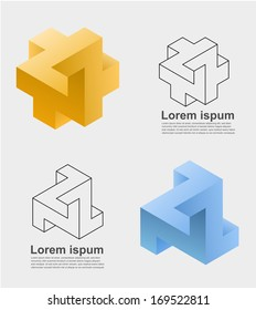 An illustration of two impossible design elements