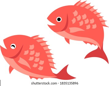 Illustration of two jumping red sea breams