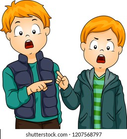 Illustration of Two Kid Boys Pointing to Each Other Passing Fault to the Other
