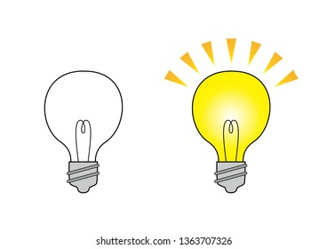 Illustration of two light bulbs (off and on)