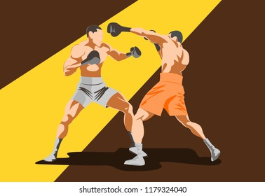 Illustration Of Two Male Boxers Character Competing In Event. in the lighting.