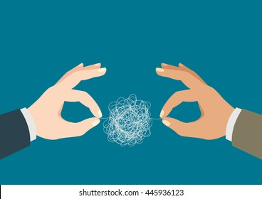Illustration of a two man hands trying to untangle the tangled thread