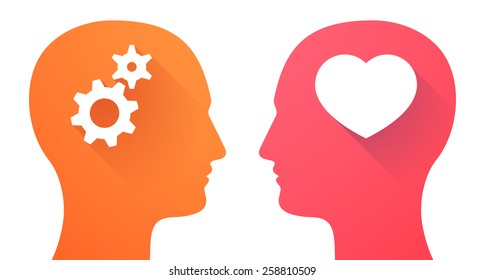 Illustration of two men heads with a heart and gears
