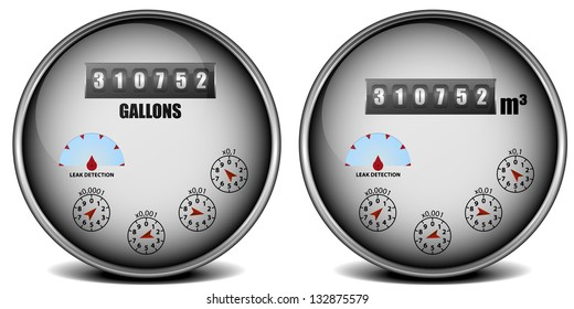 illustration of two metal framed watermeter with different units, eps10 vector
