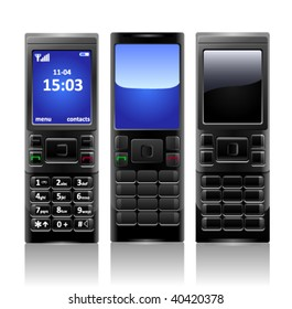 Illustration of two mobile phone on bright background