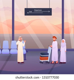 Illustration of Two Muslims After Hajj or Umrah pilgrims at the airport Vector Cartoon