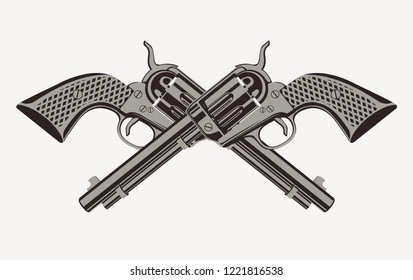 Illustration with two old crossed revolvers isolated on white background in a detailed realistic style. Vector banner on firearms and pistols theme. Template for clothing, textiles, t-shirt design.