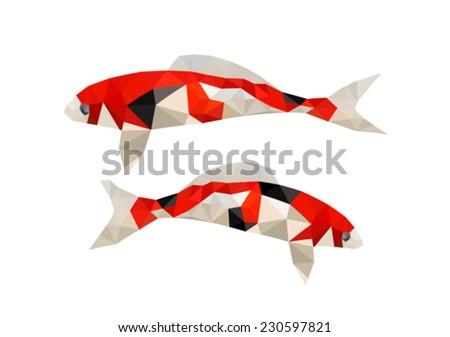 Illustration Two Origami Koi Fish Stock Vector Royalty Free