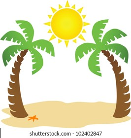 illustration of two palm trees and sun with space for your text