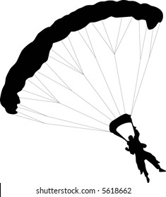 illustration of two Parachuter with to silhouettes