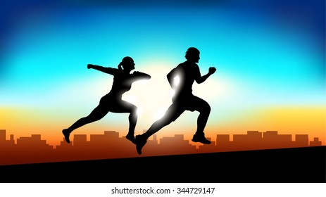 illustration of two silhouettes of running people on sunset