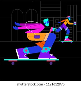 illustration of two skaters on a dark background