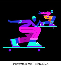 illustration of two skaters on a dark background in flat style
