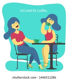 Illustration of two women sitting in a restaurant, drinking coffee and laughing about life. A caption in the background: Let's meet for a coffee