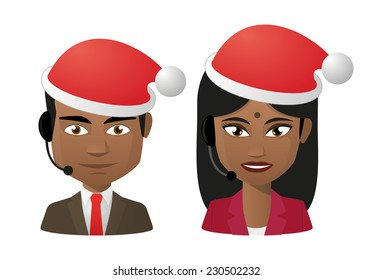 Illustration of two young indians wearing a santa hat