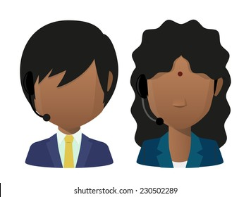 Illustration of two young indians wearing headset