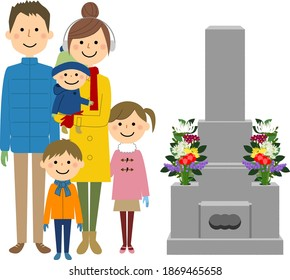 It is an illustration of a two-generation family visiting a grave.